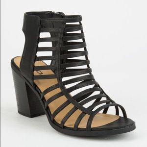 Black Strappy Cage Block Heel Sandals